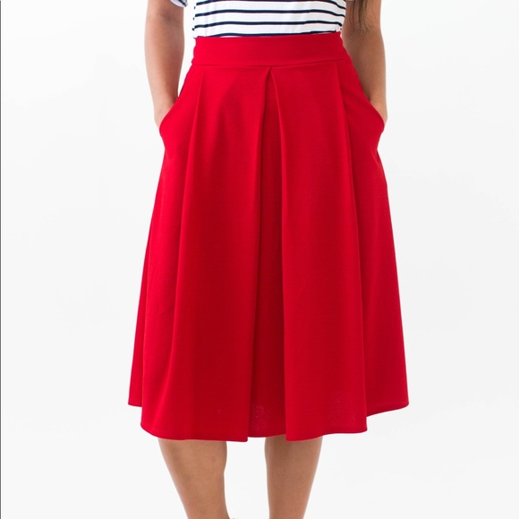 e1bc95120a2 Red pleated midi skirt